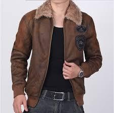 description air force winter vintage leather jacket suede coat faux fur lined b3 flight