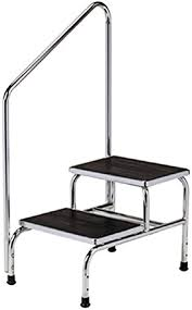 Atemou handrails for outdoor steps,white handrail railings 1 to 2 step handrail metal wrought iron handrail, handrail railings for steps porch. Amazon Com Chrome Two Step Step Stool With Handrail Health Personal Care