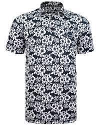Tattoo Golf Mens Procool Golf Shirt Aloha Hawaiian Black