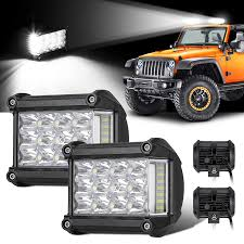 Truck Mounted Led Work Lights Amazon Com Eeekit 2 Pack Led Light Bar 4inch 380w Offroad