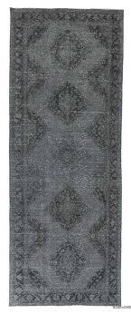 grey over dyed turkish vintage runner rug 4 10 x 12