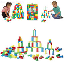 100 piece melissa doug wooden building blocks toy set classic toys kids new