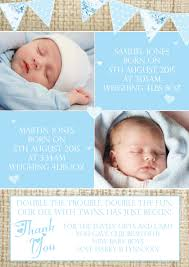 twin birth announcements photo cards hessian rustic shabby chic message note new born baby twin birth