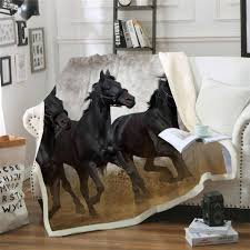 Horse Design Throw Blanket Black Horses 3d Print Sherpa Blanket Couch Quilt Cover Travel Child Bedding Outlet Velvet Plush Throw Fleece Blanket Bedspread
