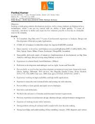 Dot Net Experience Resume Resume Format For 1 Year Experience Dot