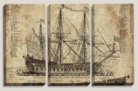 Mens Office Decor Sale Old Ship Blueprint Canvas Art Nautical Map Boys