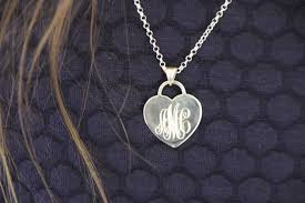 hand engraved sterling silver or solid gold heart pendant monogram initial necklace