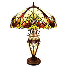 River Of Goods 245 In Multi Colored Indoor Table Lamp With Stained Glass Halston Shade And Lit Base