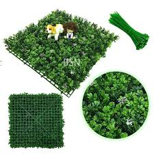 artificial boxwood hedge mats with flowers decoration faux greenery panels for indoor plants wall grass seagrass