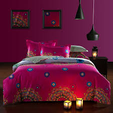 raspberry red and beige bohemian tribal circle print renaissance indian pattern moroccan style unique 100 cotton full size bedding sets