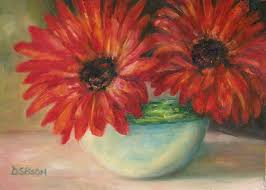 double red gerberas oil painting flowers