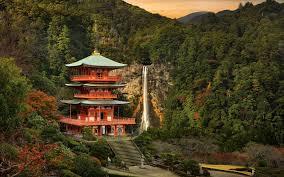 Japan Landschaft Tempel Berg Bäume Wasserfall 1920x1200
