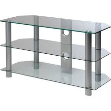 clear glass 42 inch rectangular tv stand storage units furniture graded electricals direct