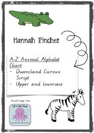 Queensland Cursive Alphabet Chart Animal Alphabet Chart Handwriting A Z Qld Cursive Script
