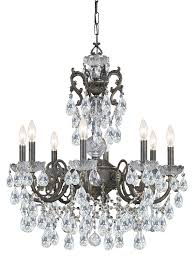 crystorama legacy 8 light clear italian crystal bronze chandelier