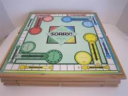 Wooden Sorry Board Game PARKER BROTHERS WOODEN CABINET MONOPOLY SORRY 100 CLASSIC BOARD 6