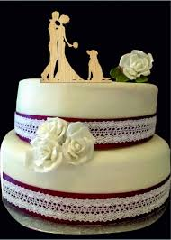 Silhouette Wedding Cake Topper With Dog Bride And Groom Cake