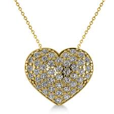 pave diamond puffed heart pendant necklace 14k yellow gold 1 38ct ad2708