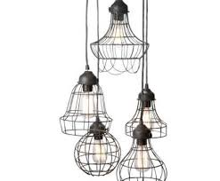 wire pendant light chandelier professional wire five pendant lamp with edison bulbs by pottery barn