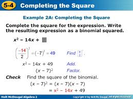 example 2a completing the square