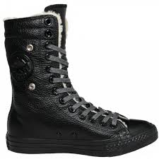 converse knee high tops. converse all black monochrome star furlined leather knee high hi-top women\u0027s boot. \u2039 tops