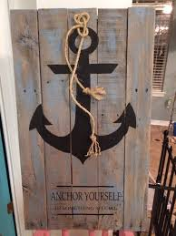 wood pallet painting ideas. anchor painted on pallet boards wood painting ideas