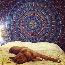 queen blue bohemian indian mandala tapestry wall tapestry bedspread