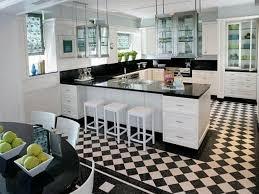 Fine Black And White Tile Floor Kitchen Ideas H With Modern Design