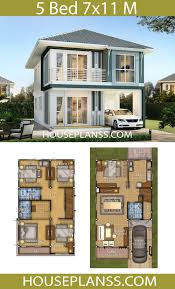 House Plans Idea 7x11 with 5 bedrooms - House Plans 3D in 2020 | 2 storey  house design, House layout plans, Model house plan