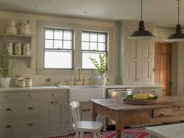 Furniture Farmhouse Kitchen Design With Pendant Lighting And White