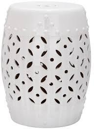 white ceramic barrel garden stool