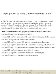 top 8 project quantity surveyor resume samples in this file you can ref resume materials quantity surveyor resume
