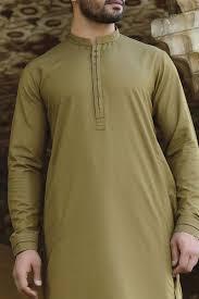 Mens Shalwar Kameez Collar Designs 2019 Leaf Green Wash N Wear Classical Shalwar Kameez For Men