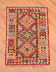 handwoven afghan veg dye kilim rug with bright multi colour 3 medallion design