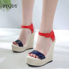 <b>BYQDY</b> 2018 Fashion <b>Summer</b> Platform Sandals Wedges Black ...