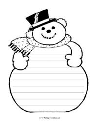 Template Of A Snowman Snowman Writing Template Writing Template