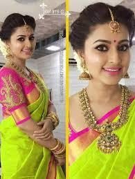 Green Saree With Pink Blouse Design Parrot Green Silk Saree Blouse Designs Tissino