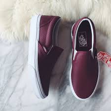 vans port wine perforated leather slip ons