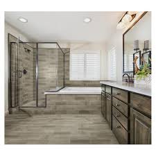 Bathroom remodel gray tile Vintage Menards Mohawk Woodlane 20 Ceramic Floor And Wall Tile At Menards