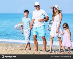 happy family on vacations stock photo