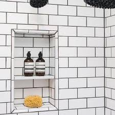Image Kitchen Shower With White Subway Tiles And Black Grout Decorpad White Shower Tiles With Black Grout Design Ideas