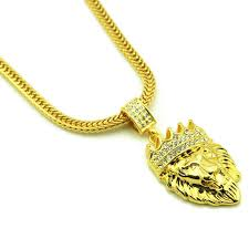 inspiring 18k gold lion head pendant with 18k gold plated lion head king crown pendant chain