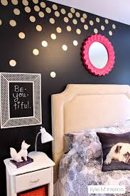 Polka Dot Bedroom Decor Gold Polka Dot Decals On Black Feature Wall In Tween Or Tween