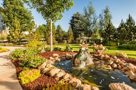 awesome garden waterfalls and ponds near garden path with stones on the edge decorated with ornamental plants and flowers in the lawn with amazing trees
