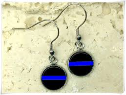 amazon elf house thin blue line earrings law enforcement earrings police drop earrings police earrings law enforcement jewelry police jewelry