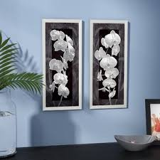 orchid opulence i 2 piece framed graphic art print set on black white blue wall art with framed art you ll love wayfair