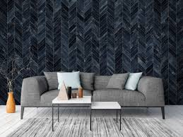 French Herringbone Navy Blue