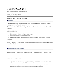 Resume Sample For Teachers In The Philippines Resume Ixiplay Free