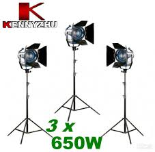 2018 continous lighting kit studio fresnel spotlight tungsten light 3 x 650w 2 8m light stands bag from kennyzhu 587 94 dhgate com
