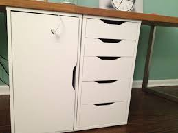 best ikea file cabinet design in white color with wooden desk in dark brown